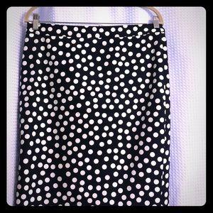 Navy & whit polka dot pencil skirt